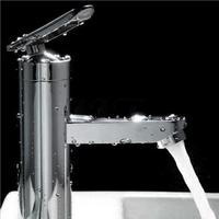 2016 Fashion Style High Quality Brushed Chrome Waterfall Bathroom Basin Faucet Single Handle Sink Mixer Tap