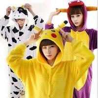 2017 TOP Unisex Adults Flannel Pajamas Sets Cosplay Cartoon Animal Onesies Sleepwear For Women Men Panda