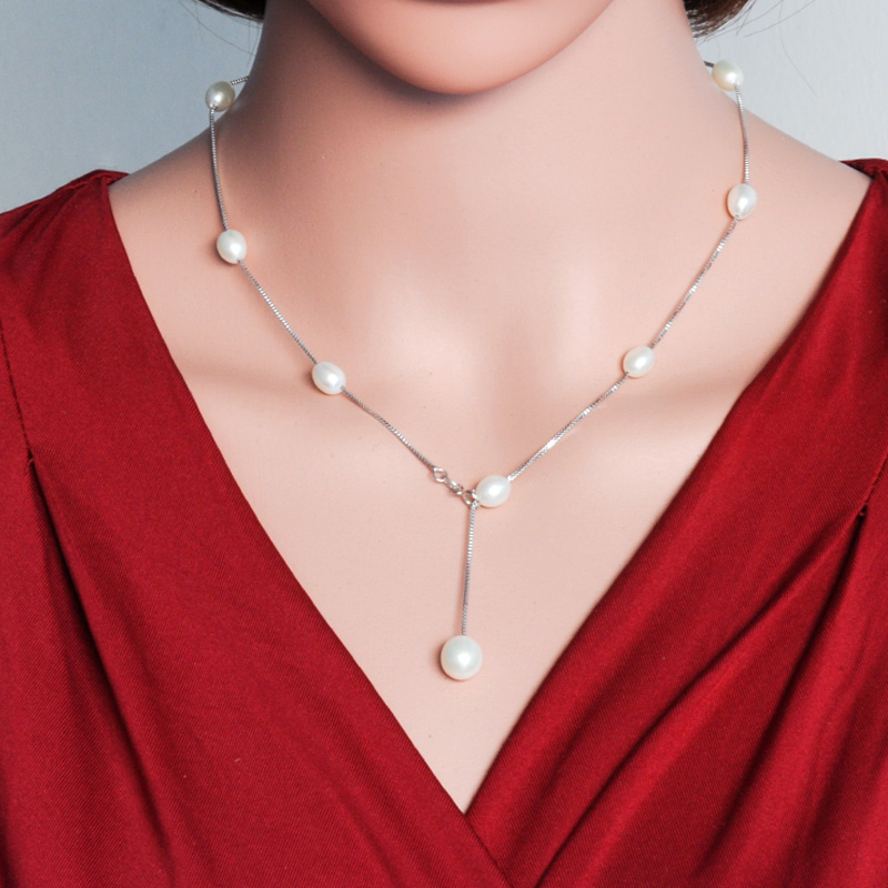 2016 new Fashion Natural pearl jewelry choker necklace for women 925 sterling silver chain jewelry pearl