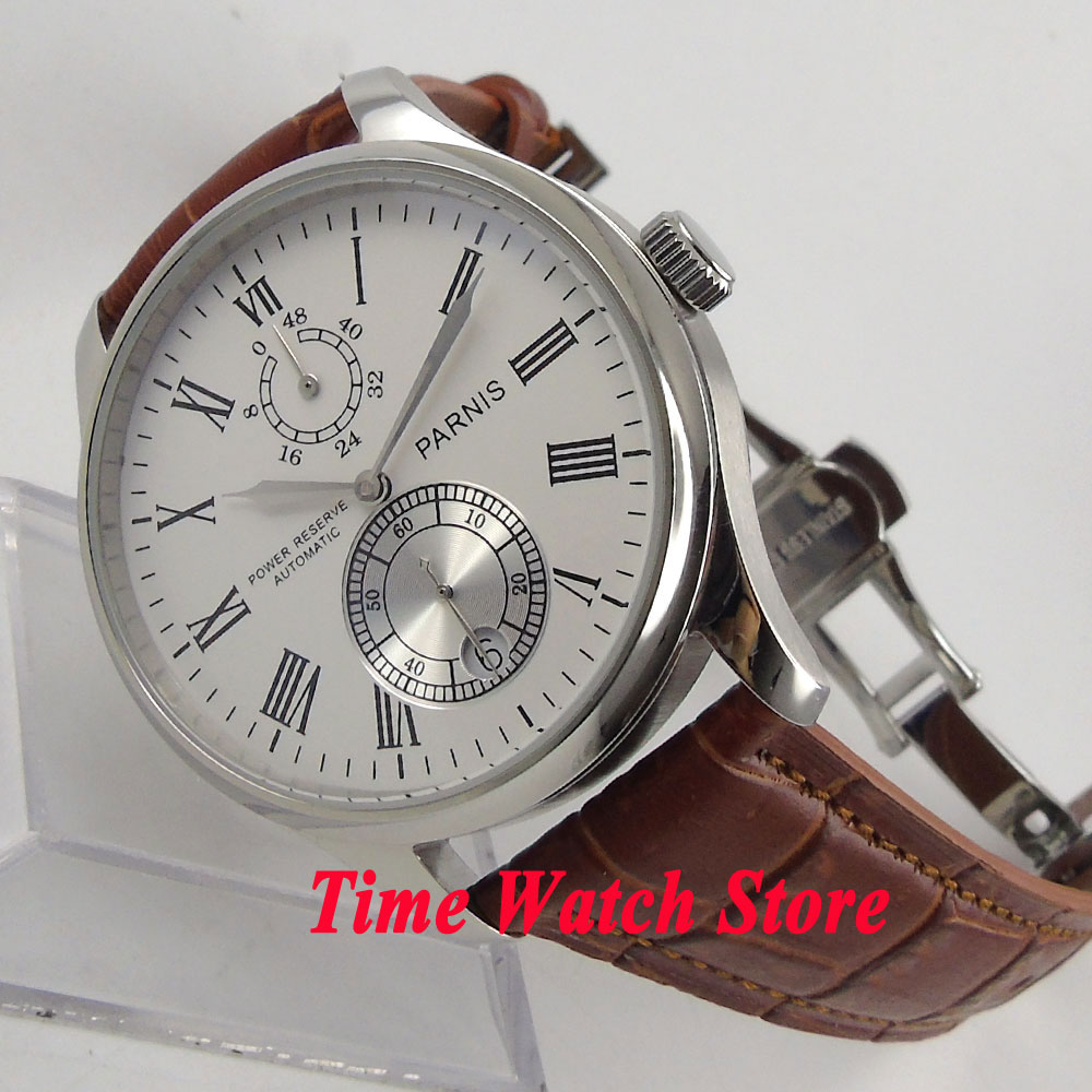 все цены на Parnis 43mm white dial Roman Numerals date Power reserve deployant clasp Automatic movement Men's watch men 199 онлайн