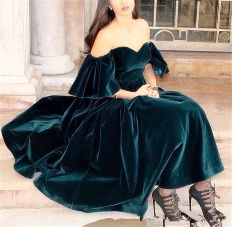 2019 Dark Green Velvet Prom Dresses Tea Length Short Sleeves Evening Gowns Plus Size Off The Shoulder Formal Party Dress Cheap