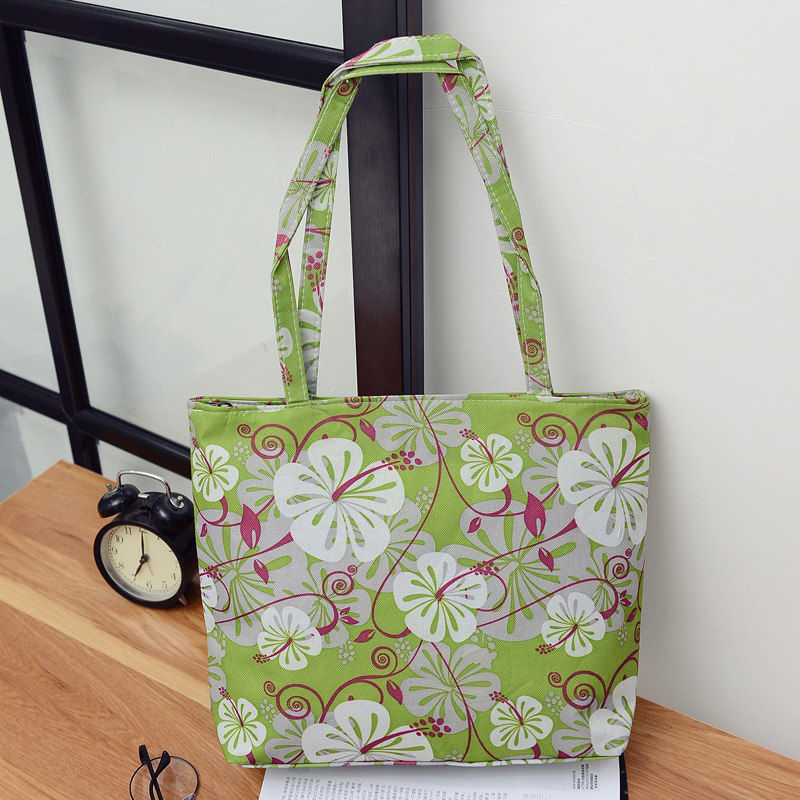 Fashion Casual Green Women Shoulder Bag Shopper Handbag Waterproof Beach Bag Lunch Bag Tote Flower Patttern Zipper