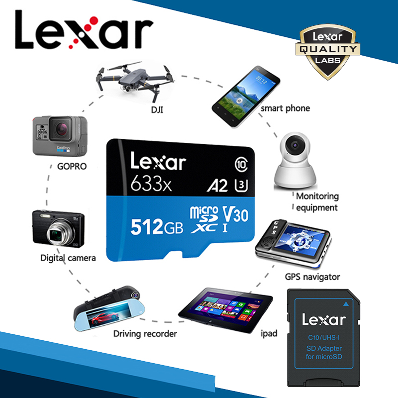 Lexar Original 633x Micro SD Card 128gb Memory Card 256gb Micro SD TF Card 64GB 512GB Free Shipping Flash SD Card For Gopro