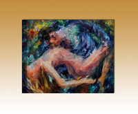 Handpainted modern nude lover oil painting palette knife wall art on canvas