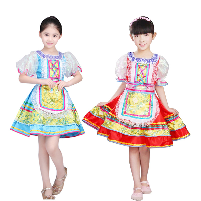 Kids Russian National Costumes Modern Stage Costumes Children Dance Princess Dress For Girl Party Show Dance Dress