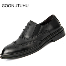 Fashion men's shoes casual leather male 2019 new classic solid brown black lace up shoe man party brogue shoes for men hot sale mycolen new fashion mens office lace up classic leather shoes men s casual party driving man vintage carved brogue flats