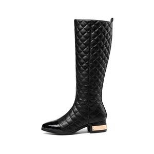 Image 3 - MORAZORA grande taille 34 45 chaude 2020 nouvelle haute qualité genou bottes automne hiver mode cuir bottes femmes moto bottes