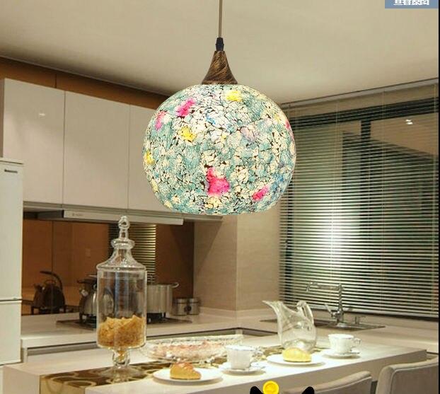 Free Bohemian Style Blue Glass Shade Soft Light Shell Single Head Lamp Aisle Corridor Bedroom