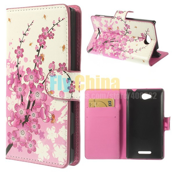 For Sony Xperia C C2305 S39h Case Beautiful Pattern Card Holder Leather Flip Capa Cover For Sony Xperia Z1 L36H S36H D5503 L39H