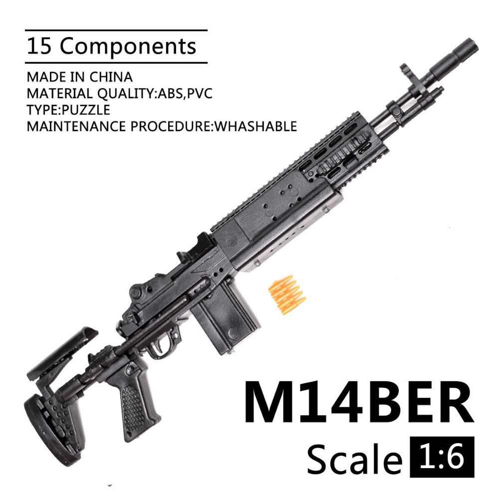 1:6 1/6 escala 12 polegada figuras de ação m14ber mk 14 mod 0/1 reforçada batalha rifle modelo arma fix 1/100 mg bandai gundam modelo brinquedos