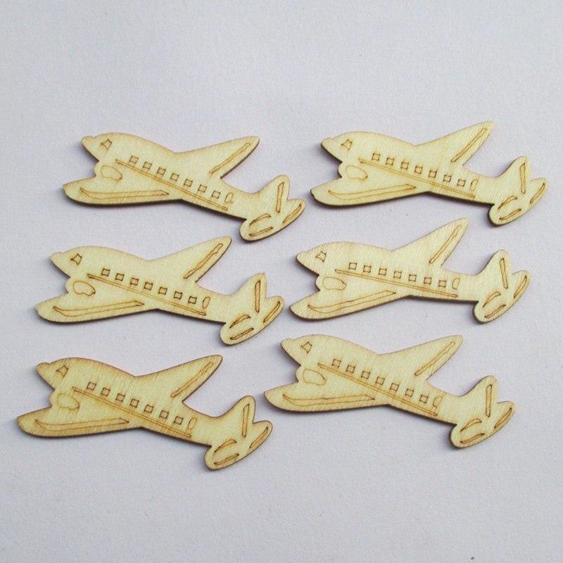 50pcs lot Natural Ecru Wood Color Airplane Shape Wood Chips Button DIY handmade accessories Children clip art Kindergarten Dec in Party DIY Decorations from Home Garden