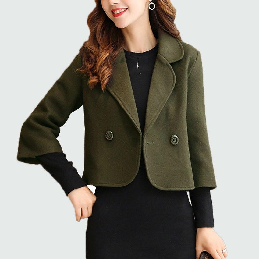 Frauen Wolle Kurzen Stil Zweireiher Woolen Mantel 2018 Frühling Herbst frauen Büro Jacken Warme Mantel Dünne Ol Jacke