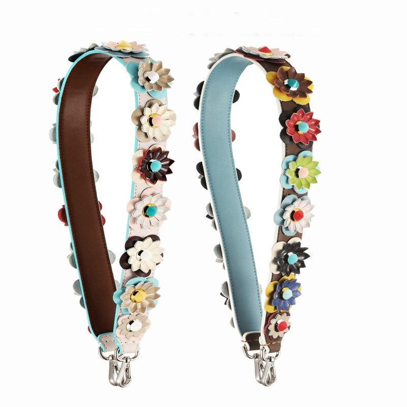 New Arrival Real Cow Leather Strapper You Handbag Strap Colorful Flower Rivet Belt Bag Parts Women Shoulder Bag Strap Bags Belts