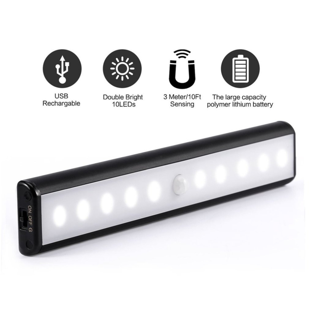 High Quality Home Wireless Motion Sensor LED Light USB Rechargeable Magnetic Ultra Bright 10 LED 3 Meters 10ft Sensing Light
