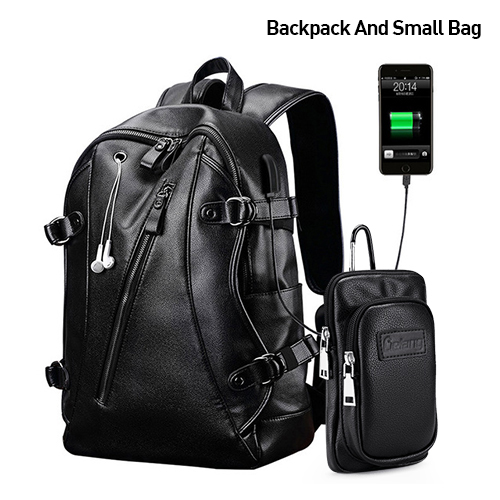Men Backpack External Usb Charge Waterproof Fashion Pu Leather Travel Bag Casual