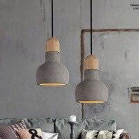 Loft Vintage Pendant Lamp Dia 140mm E27 Wood Cement Retro Northern Europe Industrial Style Edison Pendant