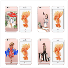 2018 Hot Sale Rushed Back Cover for Iphone X 5 5s Se 6 6s 7 8 Plus Cases Soft Tpu Flowers European Girls Painted Phone Bag(China)