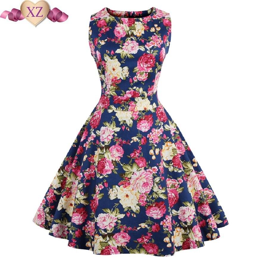 Rockabilly Vintage Dresses 2017 Summer Print Floral 1950s