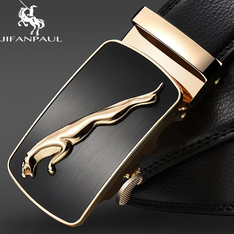 JIFANPAUL Genuine Leather Men's Simple Belt Fashion Designer Business New Belt Jaguar Pattern Decorative Alloy Automatic Buckle