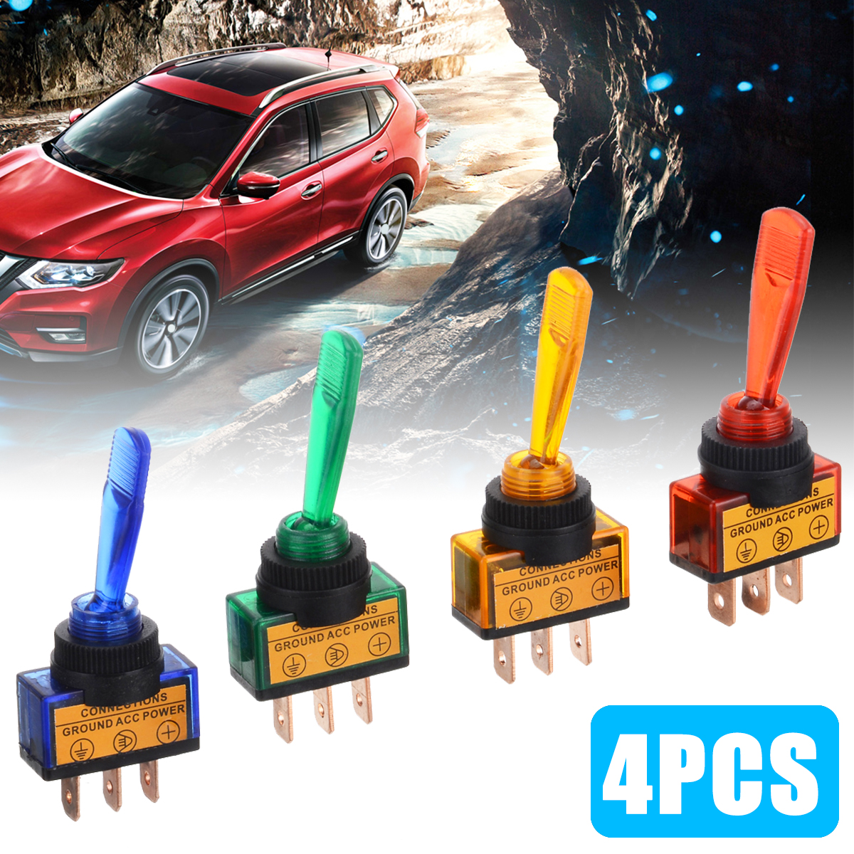 Hot Sale 4Pcs/set Rocker Switch Toggle 3 Pin On/Off SPST DC 12V 20A Switches For Car Boat Truck