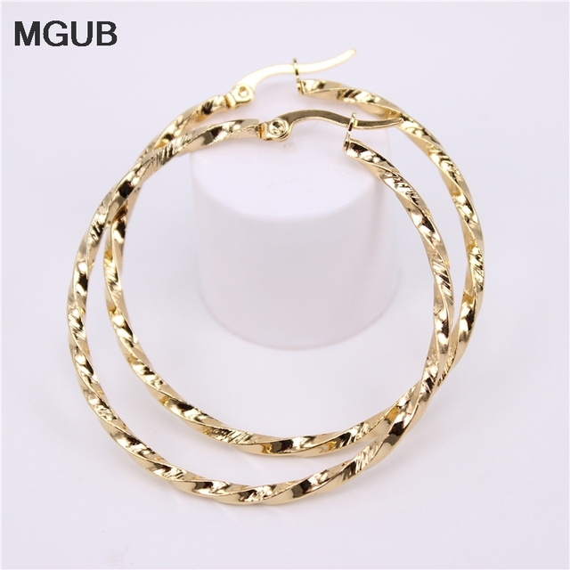 MGUB New Arrival simple Stainless Steel Jewelryl Gold Color Vintage Hoop Earrings For Women Jewelry Wholesale  HX37