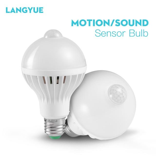 サウンドpirモーションセンサー電球110v 220vスマートナイトライトE27赤外線センサーled常夜灯電球ホーム階段廊下
