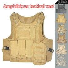 Tactical Vest Amphibious Battle Military Molle Waistcoat Combat Assault Plate Carrier Vest Hunting Protection Vest Camouflage недорого
