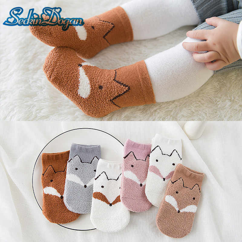 SeckinDogan Baby Girl Socks Cotton Cartoon Fox Newborn Sock 3 Pairs Casual Warm Non-slip Animal Infant Toddler Girl Boy Sokken