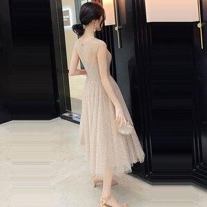 Image 2 - Prom Dress V neck Vestidos De Gala Sequin Elegant Women Party Night Dresses 2019 Plus Size Sleeveless Zipper Prom Gowns E723