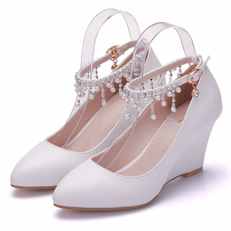 New Sweet White Bridal Wedges Pumps For Women High Heels