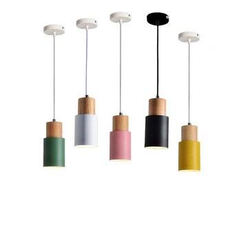 Nordic Suspension Wood Pendant Light Home Lighting Hanging Pendant Lamp LED E27 E26 110V 220V Restaurant Pendant Lights Dining
