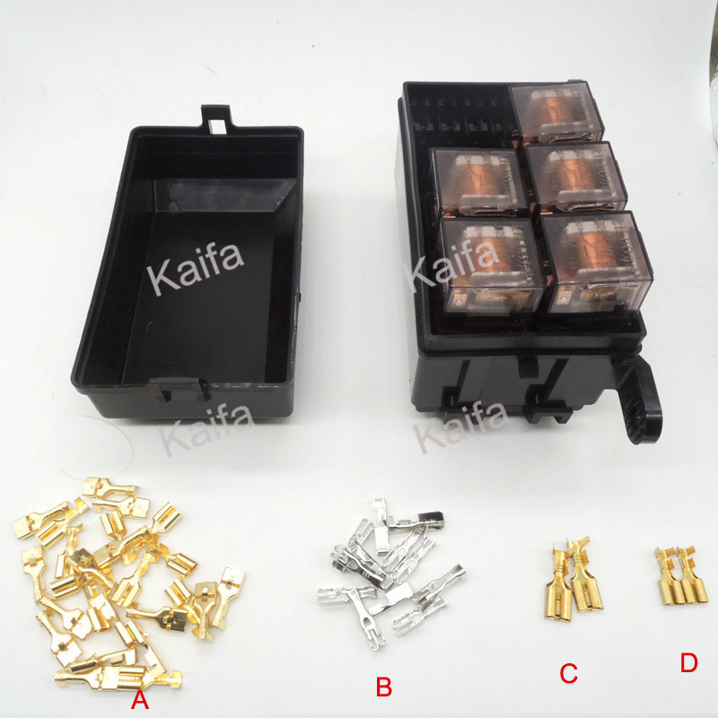 Auto fuse box 6 relay relay holder 5 road The nacelle insurance car insurance with  5 relay 24V 80A orange box with cs1 6
