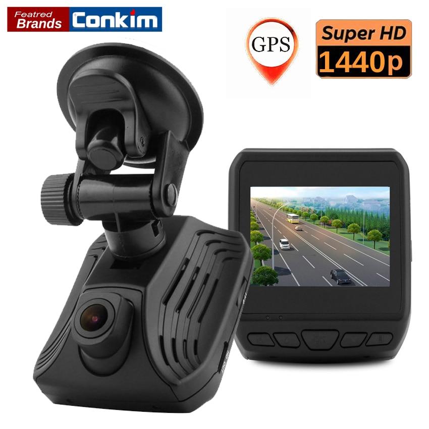 Conkim Super HD 1440P Auto Video Recorder Registrator Ambarella A12 Dash Cam Car DVR With GPS Night Vision WDR 2.31LCD DAB211