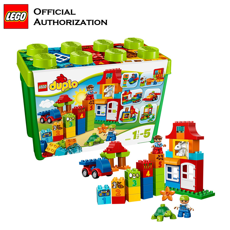 Original Brand Duplo Lego Big Size 95 Pcs Building Blocks Shape and Colors Toy Box Blocks 10580 Free Building For Children Gift xizai connection blocks cartoon building toy big size kitty assembly educational intelligence blocks melody for children gift