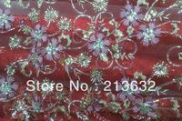 Free shipping 135cm width fabric color line embroidery lace fabric sequins beads water soluble two color NET fabric embroidery