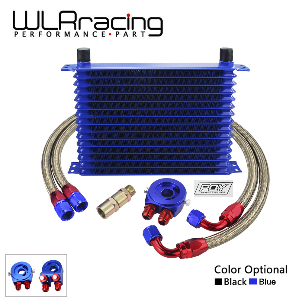 WLR - UNIVERSAL 15 ROWS OIL COOLER KIT + OIL FILTER SANDWICH ADAPTER + STAINLESS STEEL BRAIDED OIL HOSE WITH PQY STICKER+BOX vr universal 13 rows trust type oil cooler an10 oil sandwich plate adapter with thermostat 2pcs nylon braided hose line