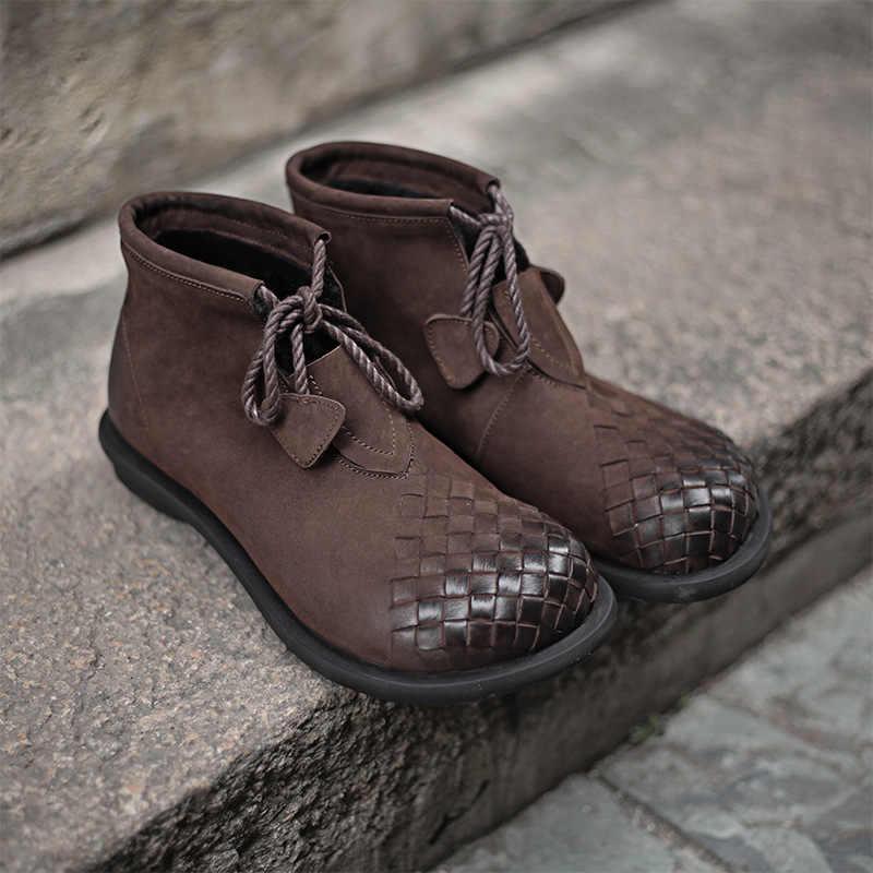 2019 VALLU Yeni Ayak Bileği çizmeler kadın ayakkabıları Inek Süet Deri Dantel El Yapımı Yuvarlak Ayak Vintage Bayan Botları Kadın Ayakkabısı Ayakkabı