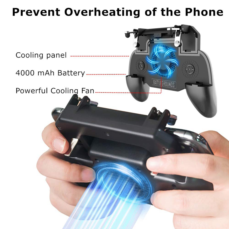 Image 4 - Gaming Grip With Portable Charger Cooling Fan,For Pubg Mobile Controller L1R1 Mobile Game Trigger Joystick For 4 6.5 inch Phon-in Gamepads from Consumer Electronics