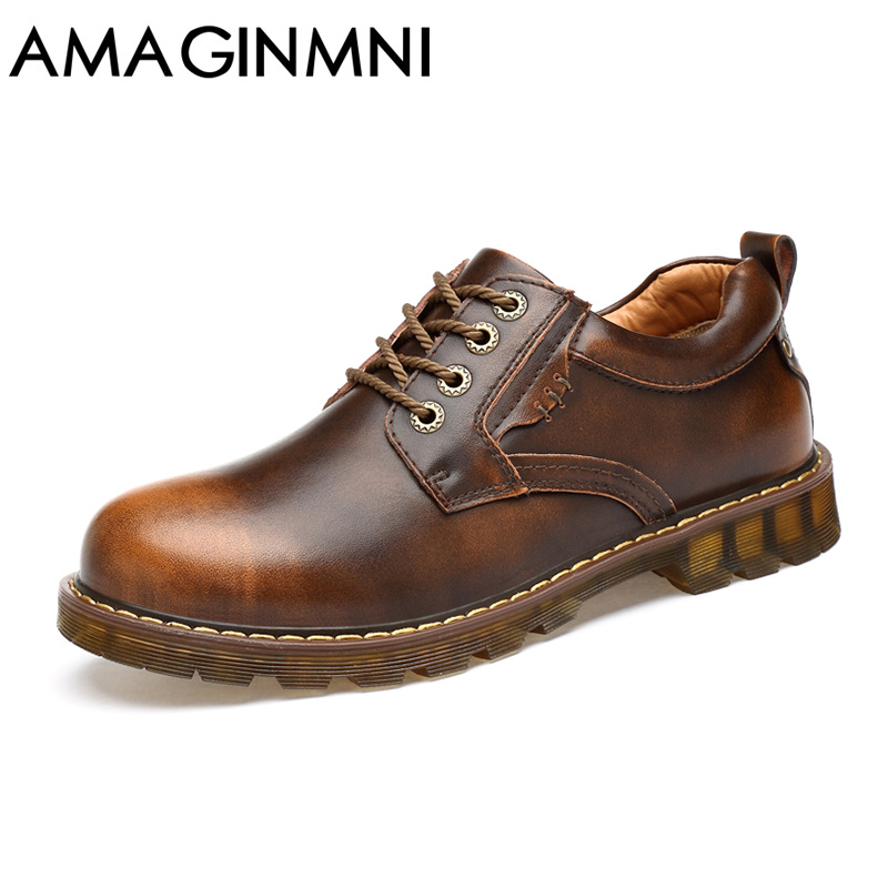 AMAGINMNI Brand Fashion men casual shoes Durable Rubber Sole Man Leather Shoes Brown / Black Work shoes men Waterproof shoes brand fashion men shoes quality leather loafers eu size 38 44 soft rubber sole man casual driving shoes