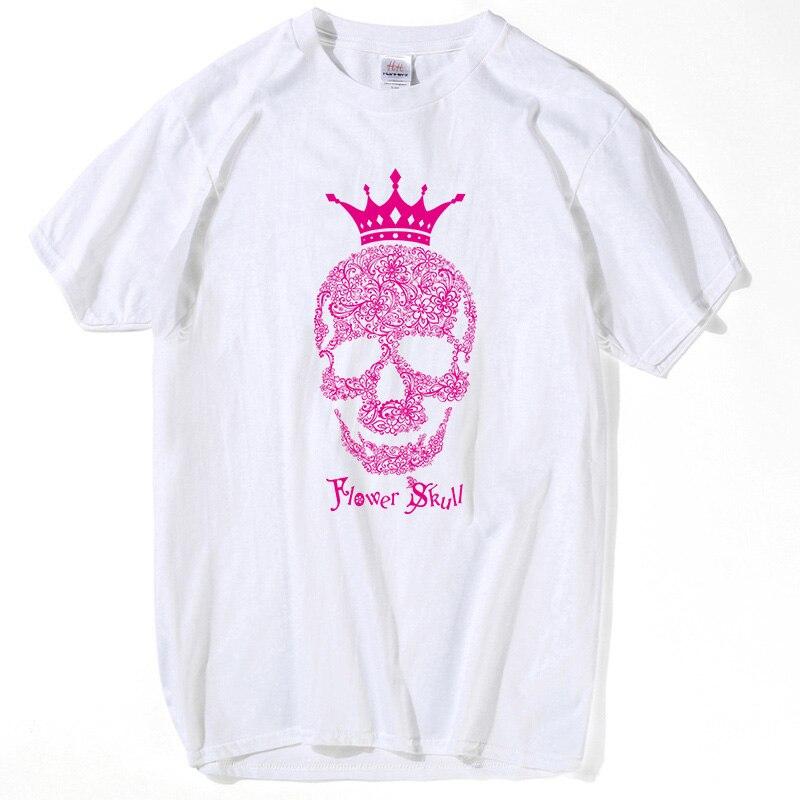 HanHent King Flower Skull T-shirt Couples Brillants D'été Couronne - Vêtements pour hommes - Photo 2