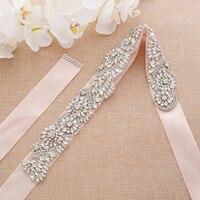 Silver Pearls Wedding Belt Rhinestones Bridal Belt Handmade Crystal Flower Wedding Sash For Wedding Accessories A142S