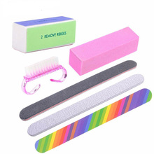 6 Pcs/lot Nail Art Buffer File Durable Buffing Grit Sand Block Manicure Nail Sponges Files Nail Cleaning Brush A006XX