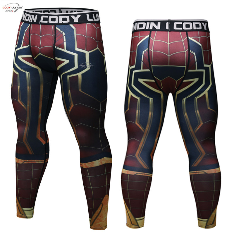 Avengers 3 Spiderman 3D Printed Pattern Compression Tights Pants Men Captain America 2018 Fitness Skinny Leggings Pants Male