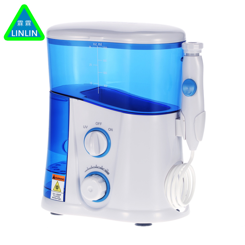 LINLIN Oral Irrigator & Dental Water Flosser with UV Sanitizer & 1000ml Water Tank + 7 Tips with Adjustable Pressure professional oral irrigator fc188 dental water flosser uv sterilizer dental irrigator dental care with 7 tips 1 handle eu plug