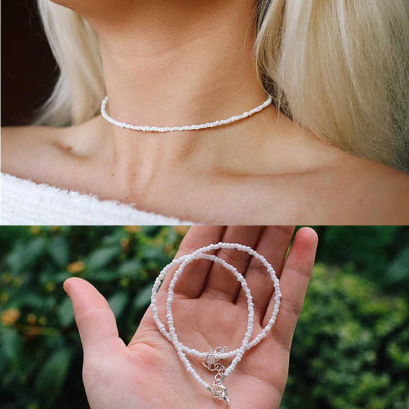White Beaded Choker Glass Necklaces 2018 Trendy Fashion Women Bohemian Jewelry Gifts for Mom Girlfriend