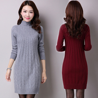 New Long 2016 Winter Leisure Fashion Women Sweater Woman Pullovers Pullover Sweater Dress Clothes