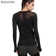 Черные Лоскутные женские футболки для бега, рубашки для йоги, трико для спортзала, женская одежда для фитнеса, топы, спортивные футболки, футболки для бега с длинным рукавом
