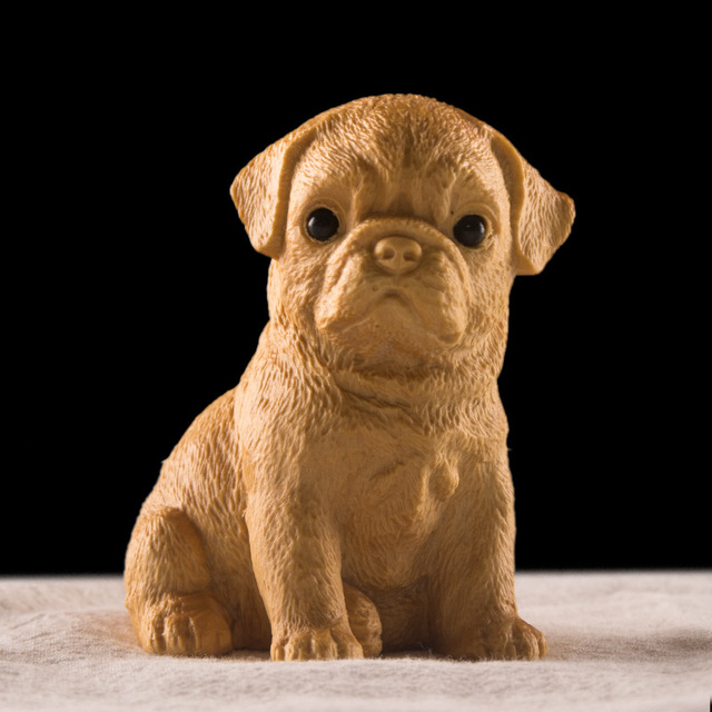 1pc Wood Statue Pomeranian Cute Dog Small Puppy Animal Statue