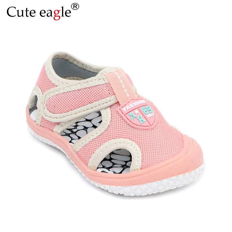 Cute Eagle Summer Kids Sandals Cute Girls Functional Flats Shoes Children's Air Mesh Solid Bottom Soft Wear Non-slip Sandals New