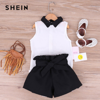 b3023b7582 SHEIN Kiddie Toddler Girls Contrast Collar Blouse With Belted Shorts Preppy  Sets 2019 Summer Sleeveless Casual